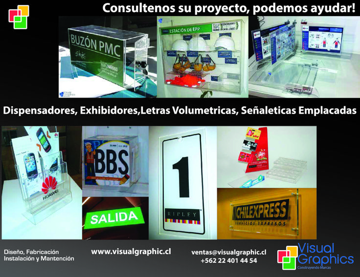 Dispensadores, Exhibidores, Letras Volumetricas, Señaleticas Emplacadas  http://www.visualgraphic.cl/  Visitenos!