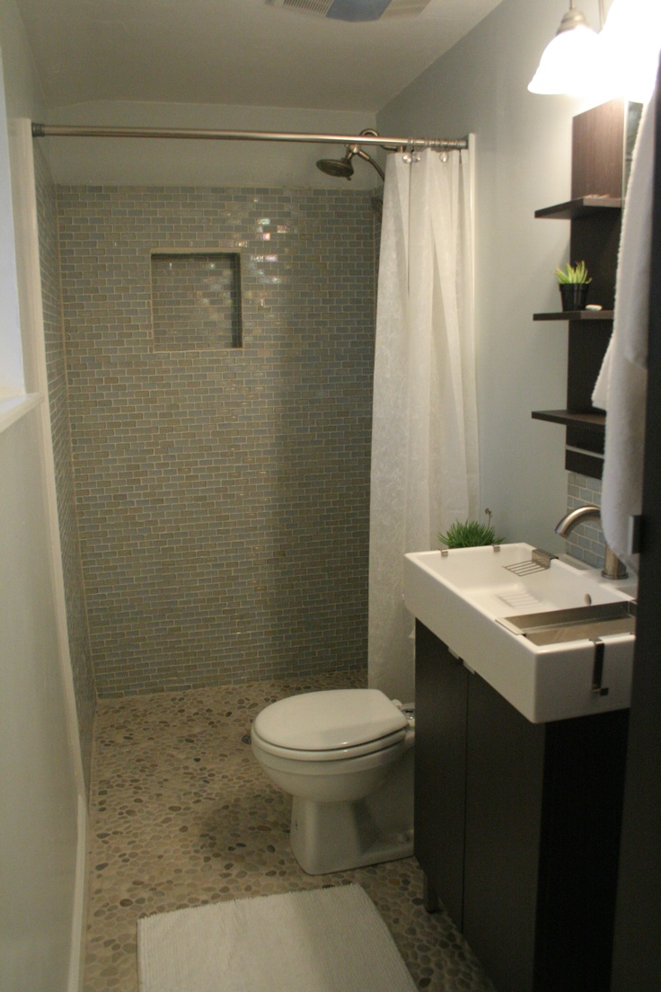 Pebble tile floor recycled glass shower tile ikea sink and cabinets finally done bathroom - Ikea bathroom tiles ...