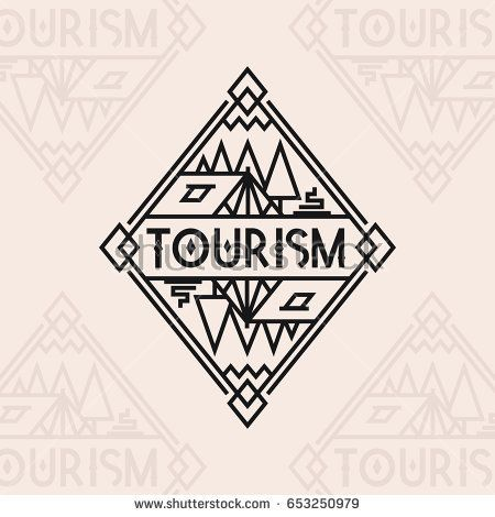 Tourism logo consisting of tent, campfire and trees line style isolated on background for camping logotype, travel badge, expedition label, explore emblem, hiking sticker, climbing symbol, banner