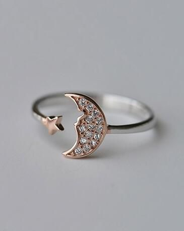 chic  moon and star fashion ring