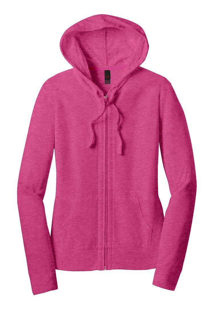 District Womens Juniors Lightweight Jersey Blend Full Zip Hooded Sweatshirt Hoodie DT2100