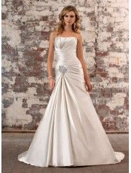 Dolce Satin A-line Strapless Wedding Dress