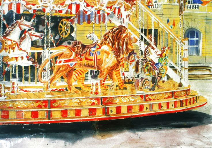 "lion carousel arles 22"" x 30""  micheal zarowsky / watercolour on arches paper / (private collection)"
