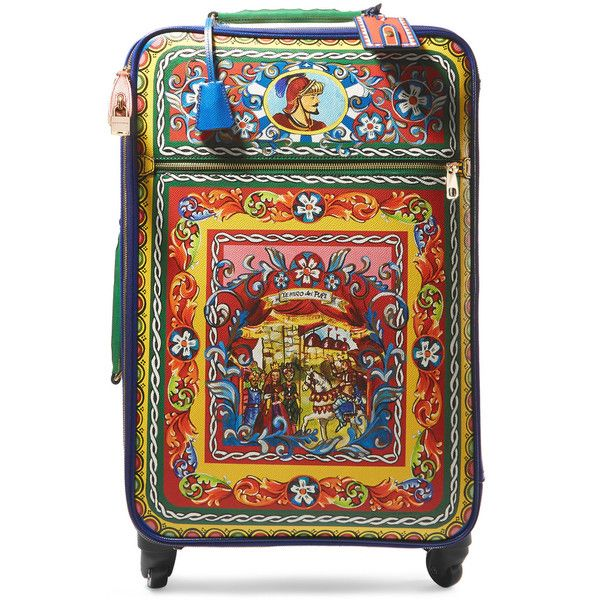 Dolce & Gabbana Carretto printed textured-leather travel trolley ($4,990) ❤ liked on Polyvore featuring bags and luggage
