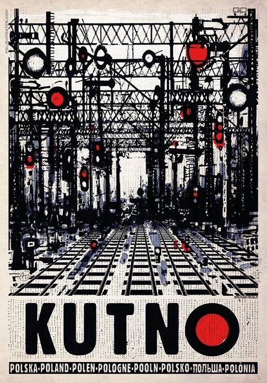 Kutno, rozjazdy kolejowe, plakat, Ryszard Kaja