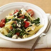 Penne with spinach and tomatoes