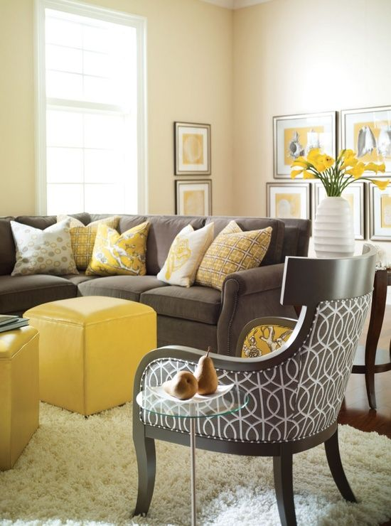 Grey Yellow Living Room Ideas With Black Chair Patterned And Brown Sofa Also Five Cushion Box Ottoman Plus White Fur Rug Charming