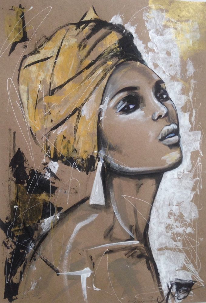 "Acrylic art on paper ""African beauty"" #ArtDeco"