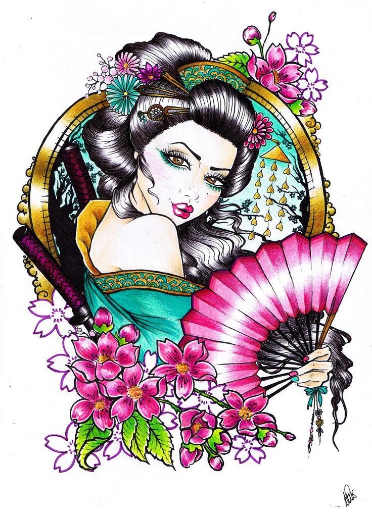 #geisha #inspired #tattoo by aura miñana