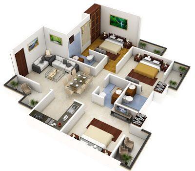 Plano 3D de casa grandes de un piso