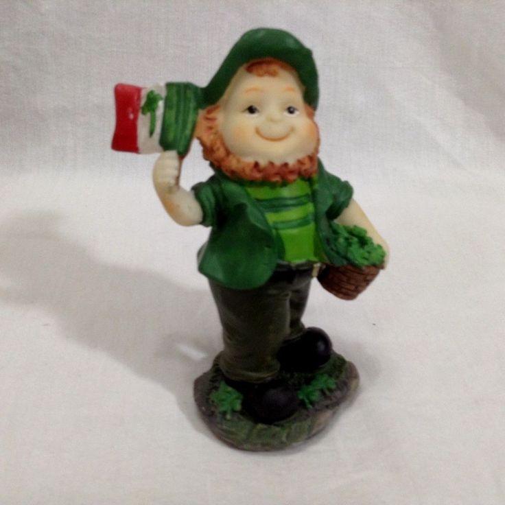 St Patricks Day Leprechaun Irish Flag Basket Shamrocks 2009 Resin Figurine Gnome