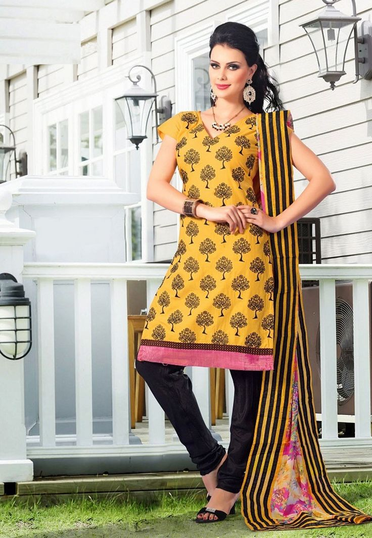 """The only way of discovering the limits of the possible is to #venture a little way past them into the impossible."" Yellow #Color Cotton Designer #Salwaar Kameez"