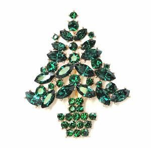 Faship Gorgeous Emerald Color Green Crystal Gold Metal Christmas Tree Pin Brooch