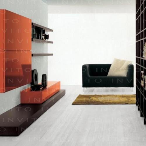 Mueble integrado por entrepaños, cajonera baja en laca, cama de madera chocolate y gabinete para CDs y DVDs para un espacio mínimo de 2.40 mts.