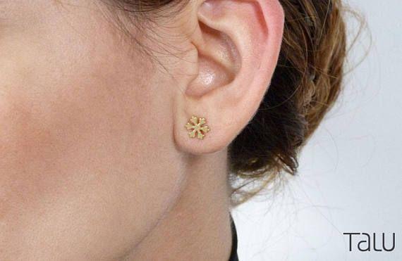 Snowflake Gold Earrings Christmas Jewelry Snowflake Stud