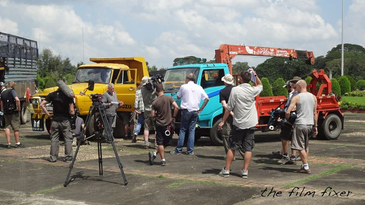 Yangon - Top Gear Special Burma - crew filming the opening sequence - parade ground near Shwedagon Paya