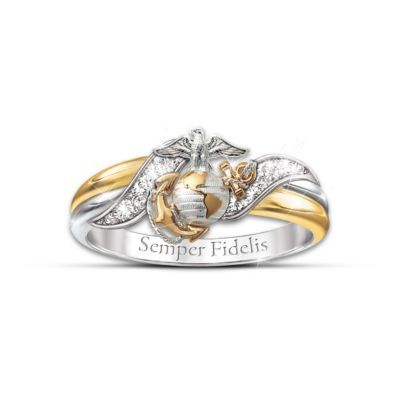 Solid sterling ring has one silver and one 18K-gold-plated band plus 4 pavé set diamonds, the USMC emblem and Semper Fidelis engraving. Gift box.