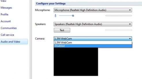 """To disable the use of the webcam under Nimbuzz. Click on small wrench icon (Customize and control) > Options > Audio and Video; Next to """"Camera"""" select ..."""