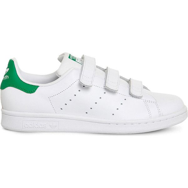 Adidas Stan smith cf leather trainers (230 ILS) ❤ liked on Polyvore featuring shoes, sneakers, leather trainers, striped sneakers, leather sneakers, velcro strap sneakers and stripe shoes
