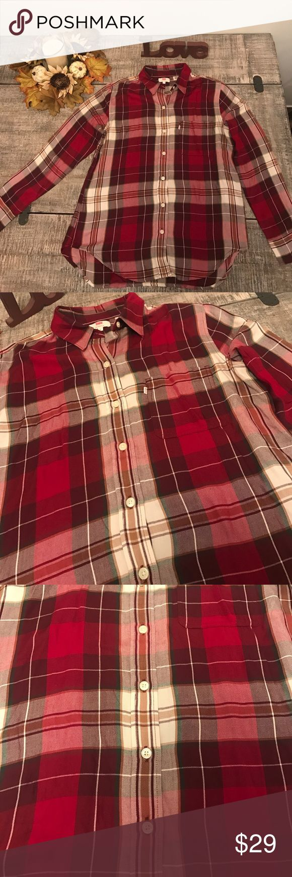 Levis button down plaid shades of red and white Very festive for the holidays! Red flannel buttons down with. New with tags! Levi's Tops
