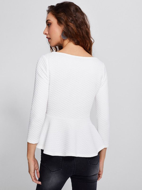 Shop Zip Up Quilted Peplum Top online. SheIn offers Zip Up Quilted Peplum Top & more to fit your fashionable needs.