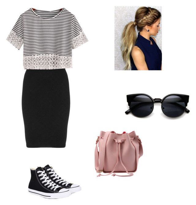 """""""Another school outfit by me! """" by katiedawn0801 on Polyvore featuring Manon Baptiste, WithChic and Converse"""