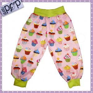 LilliPOP barnkläder: LilliPOP byxor med cupcakes i rosa och grönt.