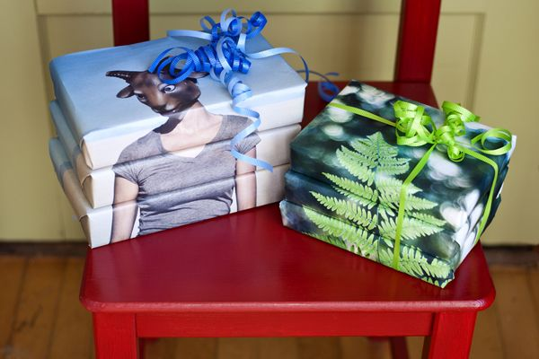 DIY  photo wrapping paper - Print multiple copies of the same image. Line them up carefully so when they're stacked together– they create the entire image (See photo above.)