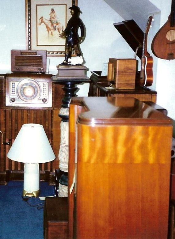 Consoles, Wood table sets and Philco Lamp/radio.