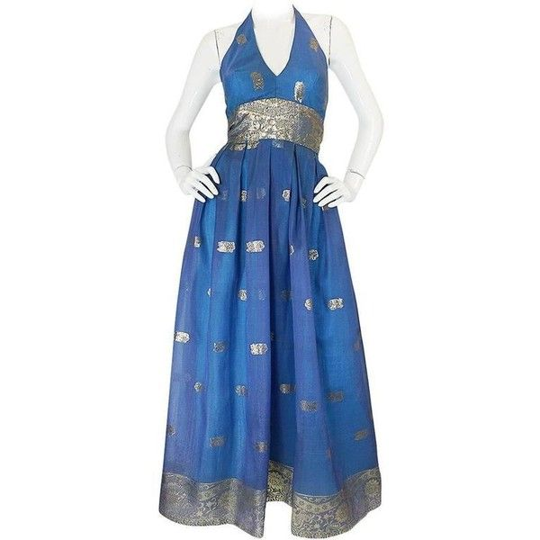 Preowned 1960s Backless Blue & Gold Sari Inspired Silk Dress (£440) ❤ liked on Polyvore featuring dresses, blue, halter dress, western dresses, blue halter top, backless dress and blue cocktail dress