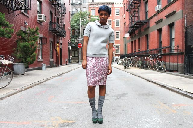Green pumps, gray slouch socks, cranberry mid-length skirt, knit top