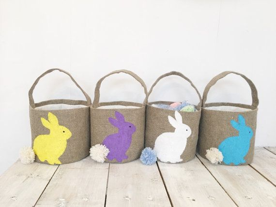 Burlap  easter basket Personalized Easter Bunny Girls Easter Basket Personalized Easter Baskets personalized basket by HedgehogKingdom #shopping #gifts #shopsmall