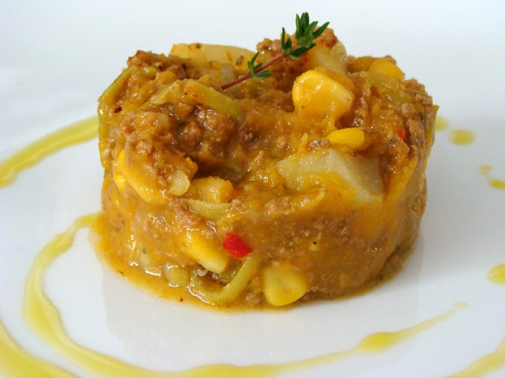 Charquicán....(is based on potato, pumpkin and meat.)