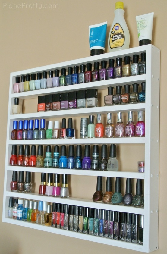 Nail Polish Storage - I NEED something like this! I have a mini-shelf that I thought might work for this, but it's not *quite* tall enough for my polish bottles :(
