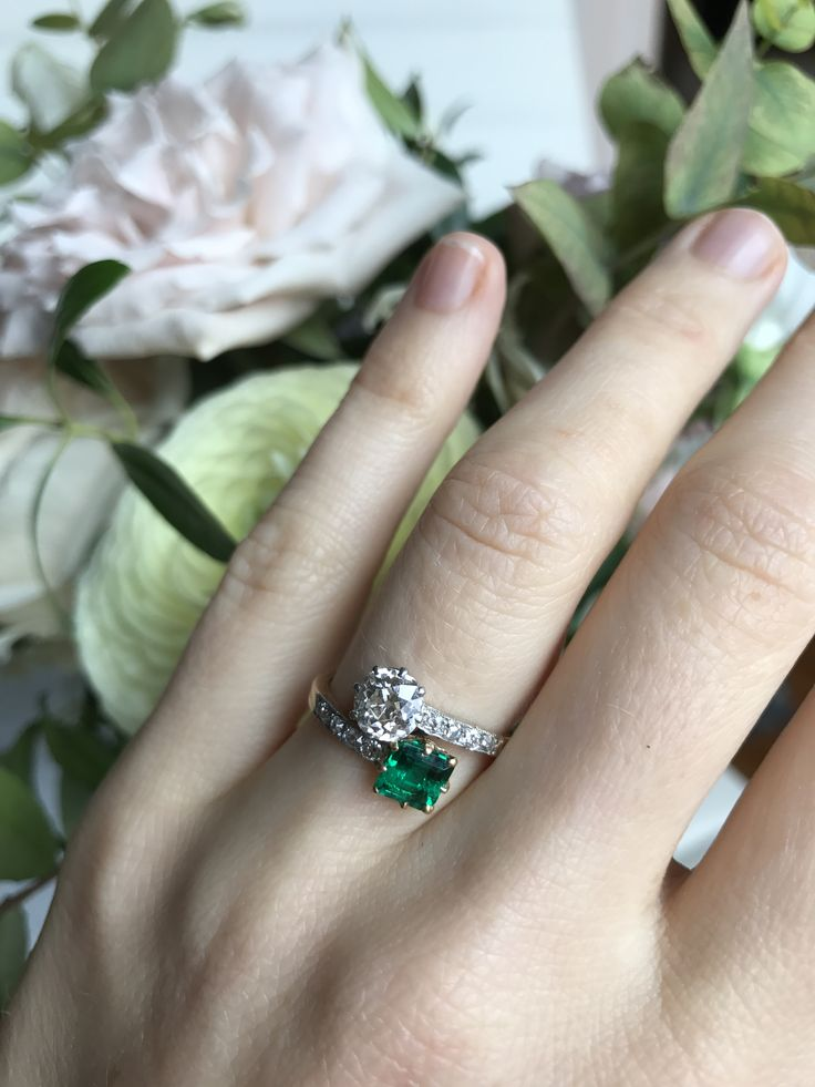 Edwardian emerald and diamond 'moi et toi' engagement ring