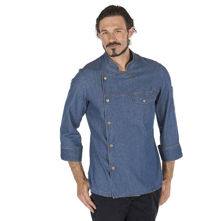 9443 - chaqueta tejana unisex Casal para chef, en manga larga y con botones a presión. Disponible en tejido tejano lavado 100% algodón