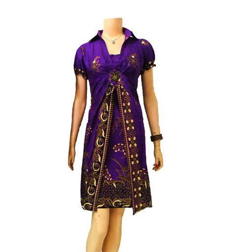 dress batik modern dan cantik berwarna ungu