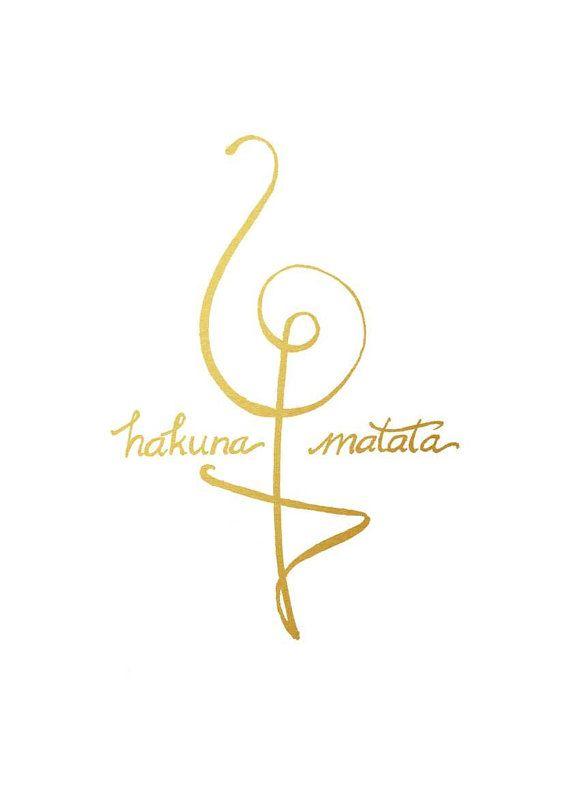 Hakuna Matata Symbol Disney Lion King Gold Black and White