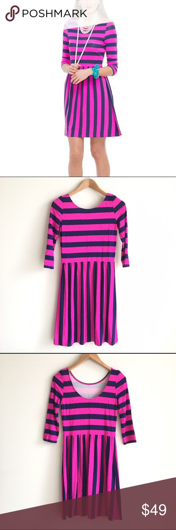Lilly Pulitzer Pink & Navy Striped Evelyn Dress Pink and navy stripes with polka dots.  ¾ length sleeves.  Skater style dress, fitted sleeves and top, loose flared bottom.  Horizontal stripes across top, vertical stiped skirt.  EUC Lilly Pulitzer Dresses Long Sleeve