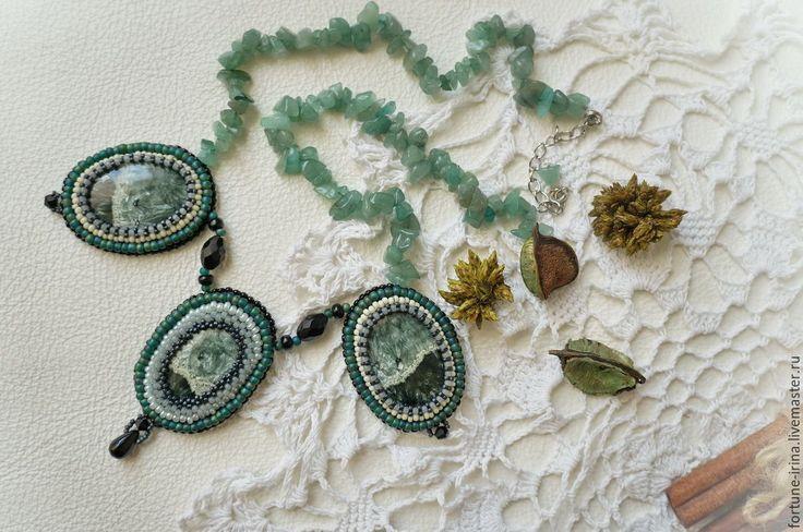 Купить Колье с клинохлором (серафинитом) Камни ангелов - морская волна, зеленый, клинохлор, серафинит