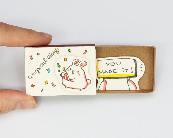 Congrats Card - You made it - Congratulations  Please read reviews of our products on our old shop here: shop3xu.etsy.com  This listing is for one matchbox. This is a great alternative to a traditional greeting card. Surprise your loved ones with a cute private message hidden in these beautifully decorated matchboxes!  Each item is hand made from a real matchbox. The designs are hand drawn, printed on paper and then hand assembled to give each individual matchbox that special personalized…