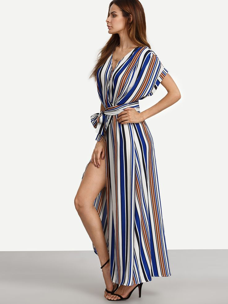 Shop Multicolor Striped V Neck Tie Waist Split Maxi Dress online. SheIn offers Multicolor Striped V Neck Tie Waist Split Maxi Dress & more to fit your fashionable needs.