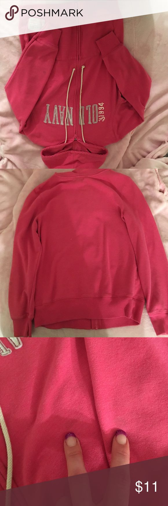 Old navy hoodie Old navy hoodie. Pink, good condition. Two stains shown in last picture. Hardly noticeable when worn! Old Navy Tops Sweatshirts & Hoodies