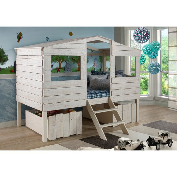 donco kids tree house low loft bed with storage reviews wayfair - Coole Mdchen Schlafzimmer Mit Lofts