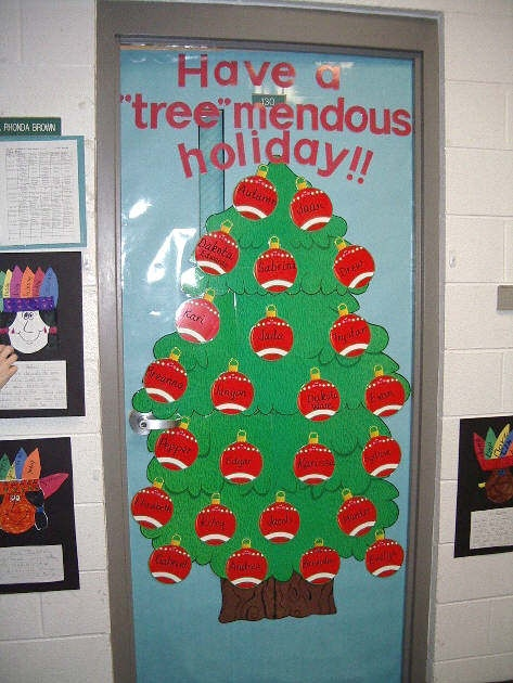 White Christmas Classroom Decorations ~ Christmas tree classroom door pixshark images