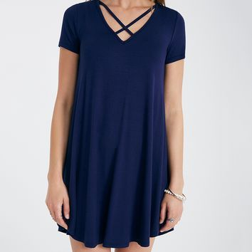 Short Sleeve Shift Dress With Crisscross Neckline | Wet Seal
