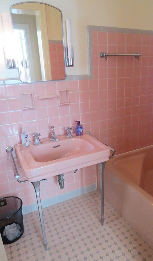 Beautiful pink and gray floor tile. Via retro renovation pink-and-grey-vintage-bathroom