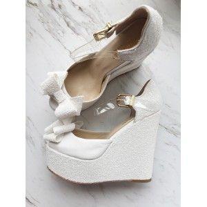 Beyaz  Dolgu Topuk Gelin Ayakkabısı