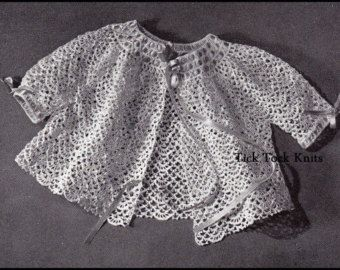 No.99 Baby Crochet Pattern PDF Vintage Baby's Crocheted Keepsake Sweater - Retro Baby Crochet Pattern - Instant Download