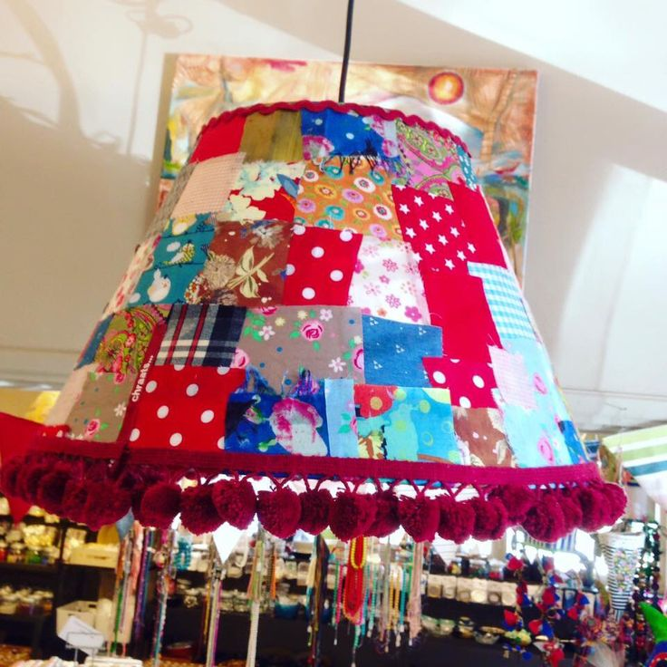 Lampshade patchwork with pompon .